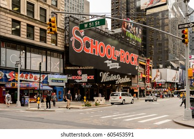 NEW YORK, USA - SEP 22, 2015: School of rock poster of the Broadway street. It is the oldest north south main thoroughfare in New York City