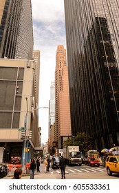 NEW YORK, USA - SEP 22, 2015: Skyscapers of the 6th avenue (Avenue of the Americas), 6 km long