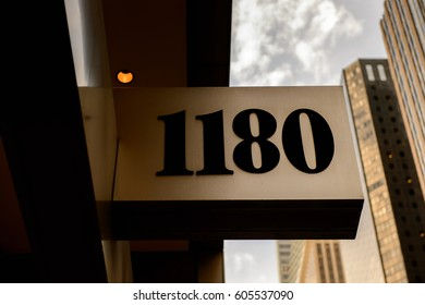 NEW YORK, USA - SEP 22, 2015: House 1180 of the 6th avenue (Avenue of the Americas), 6 km long