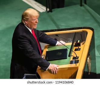 NEW YORK, USA - Sep 25, 2018: President of the United States Donald Trump during the 73th session of the UN Assembly in New York