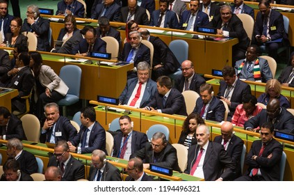 NEW YORK, USA - Sep 25, 2018: President of Ukraine Petro Poroshenko at the 73th session of the UN General Assembly in New York