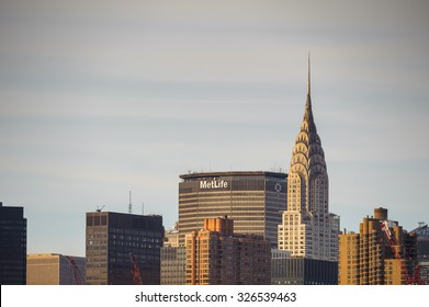 NEW YORK, USA - SEP 25, 2015: Crysler building in Manhattan, New York City, USA. New York is the most populous city in the United States