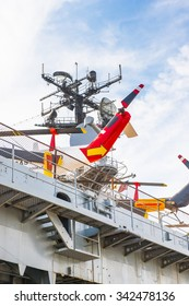 NEW YORK, USA - SEP 25, 2015: USS Intrepid (The Fighting I), one of 24 Essex-class aircraft carriers built during World War II for the United States Navy (Intrepid Museum)