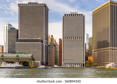 NEW YORK, USA - SEP 25, 2015: Lower Manhattan view of New York City, USA. New York is the most populous city in the United States