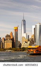 NEW YORK, USA - SEP 25, 2015: Staten Island ferry, New York City, USA. New York is the most populous city in the United States