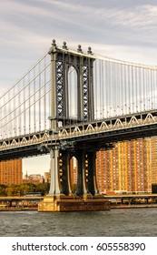 NEW YORK, USA - SEP 25, 2015: Manhattan bridge, New York City, USA. New York is the most populous city in the United States of America