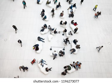 New York, USA - Sep 28, 2018: Image of people in the lobby of a modern business center in NYC
