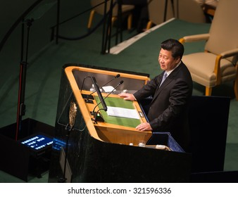 NEW YORK, USA - Sep 28, 2015: President of the People's Republic of China Xi Jinping  speaks at the opening of the 70th session of the General Assembly of the United Nations Organization in New York