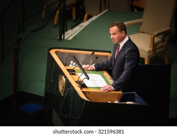 NEW YORK, USA - Sep 28, 2015: President of Poland Andrzej Duda speaks at the opening of the 70th session of the General Assembly of the United Nations Organization in New York
