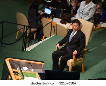 NEW YORK, USA - Sep 28, 2015: President of the People's Republic of China Xi Jinping  at the opening of the 70th session of the General Assembly of the United Nations Organization in New York