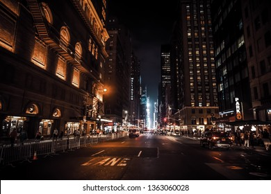 NEW YORK, USA - Sep 29, 2015: Streets of Manhattan at night. Manhattan is the most densely populated of the five boroughs of New York City