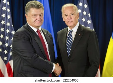 NEW YORK, USA - Sep 29, 2015: US Vice President Joe Biden during a meeting with President of Ukraine Petro Poroshenko in New York