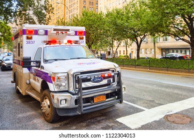 New York, USA- September 05, 2017 : Ambulance ( Emergency) car  and  urban cityscape of New York. Midtown district.
