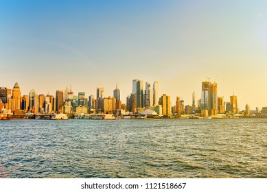 New York, USA- September 06, 2017 :Skyline view of skyscrapers from water, from Hudson to Manhattan,NY. New York City is  Financial capital of America. USA.