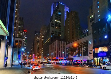 New York, USA- September 06, 2017 : Night view of New York. Street, cars, people and tourists on it.