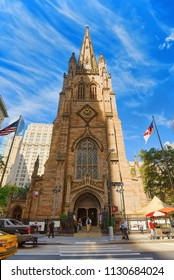 New York, USA- September 08, 2017 : St. Paul's Chapel of Trinity Church Wall Street on Broadway, urban view of New York.