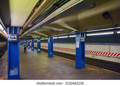 New York, USA- September 08, 2017 :Platform in New York Metro at York Street Station. New York. USA.