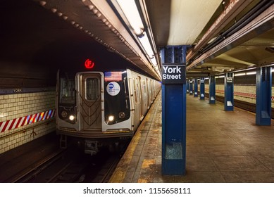 New York, USA- September 08, 2017: Platform in New York Metro at York Street Station. New York. USA.