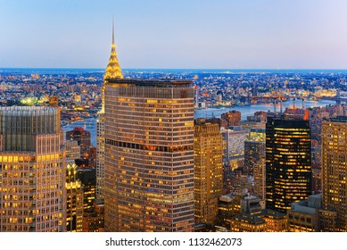 New York, USA- September 09, 2017 :Night view of Manhattan from the skyscraper's observation deck. New York. USA.
