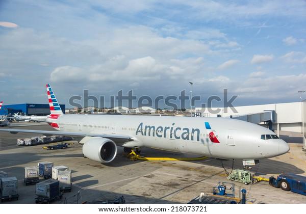 NEW YORK, USA - SEPTEMBER 10, 2014: American Airlines Boeing 777 at New York JFK airport before boarding passengers.