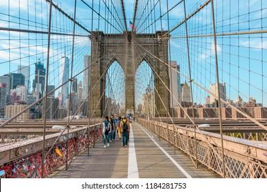New York, USA - September 12, 2017: Brooklyn Bridge, New York City.