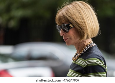 New York, USA - September 12, 2014: Editor-in-chief of Vogue US magazine Anna Wintour leaves Marc Jacobs fashion show building during New York Women's Fashion Week. Street style photo