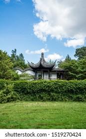 New York / USA - September 13 2019: New York Chinese Scholar's Garden