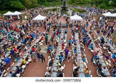NEW YORK, USA – SEPTEMBER 13, 2019: Chess-in-the-Park Rapid Open at Bethesda Fountain in Central Park, New York City