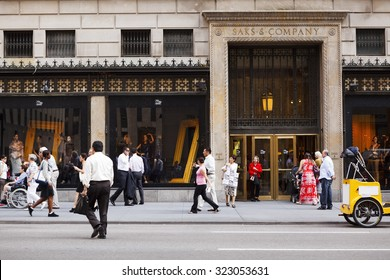 New York, New York, USA - September 13, 2011: Flagship store of Saks & Company on Fifth Avenue in New York City. Saks is a well known high end department store chain. This is their flagship location.