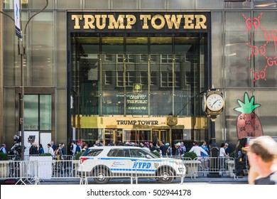 NEW YORK, USA - SEPTEMBER 15, 2016: Trump Tower with film crew and New York Police Department outside in the run up to the  Presidential Election in 2016