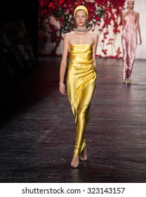 New York, USA - September 16, 2015: Naeem Khan's Runway at the Skylight at Moynihan Station for New York Fashion week Showing his Spring / Summer Collection for 2016