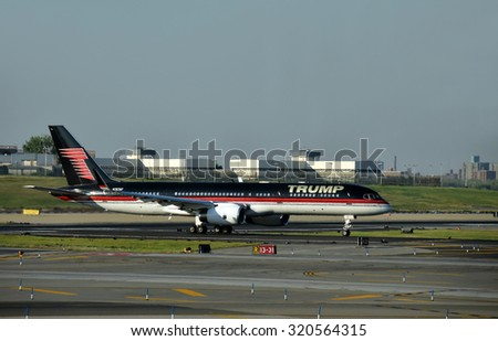 New York, USA - September 17, 2015: Boeing 757 jet airplane bearing the logo of Donald Trump takes off from laguardia, New York City