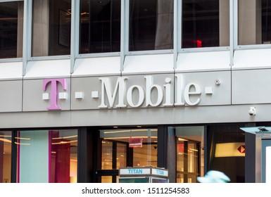 New York, New York, USA - September 21, 2019: A t-mobile store in midtown Manhattan.