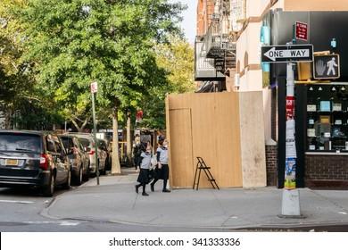 New York, USA - September 21, 2015: Jewish children in the Jewish district of New York.