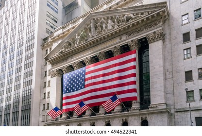 New York, USA - September 21, 2015: Building of New York Stock Exchange.  It is the largest exchange in the world by market capitalization.