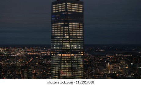 NEW YORK USA - SEPTEMBER 23 2016: famous rebuilt One World Trade Center in downtown Manhattan, New York City. Modern architecture glassy skyscraper lit up with lights on magical summer evening