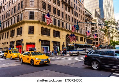 NEW YORK, USA - September 23, 2018: FIFTH AVENUE (5th Ave) is the most famous street of New York. 5th AVE is best known as an unrivaled shopping street. Manhattan, New York City, USA.