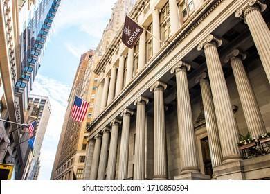 NEW YORK, USA - September 23, 2018: Wall Street Financial District. New York Stock Exchange. Manhattan. New York City, USA.