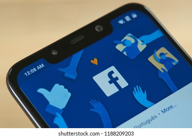 New york, USA - september 24, 2018: Facebook menu with logo on smartphone screen close up