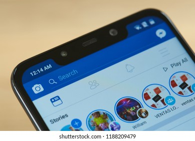 New york, USA - september 24, 2018: Search bar in Facebook on smartphone screen close up