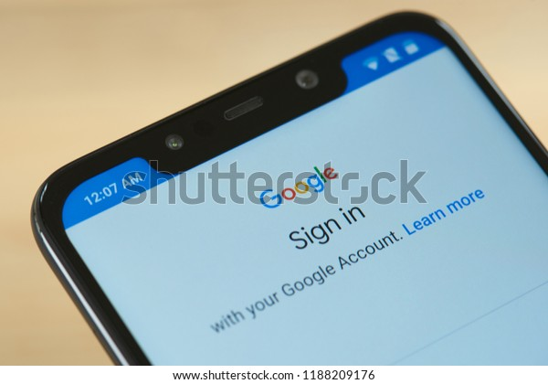 New york, USA - september 24, 2018: Sign in google account on smartphone screen close up