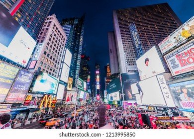 NEW YORK, USA - September 26, 2018: Times Square at night. World's most visited tourist attraction Times Square is famous touristic location of New York. Manhattan, New York City, USA.
