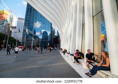NEW YORK, USA - September 26, 2018: THE OCULUS. The Oculus Transportation Hub at new World Trade Center NYC Subway Station. Oculus, the main station house.