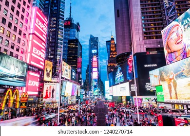 NEW YORK, USA - September 26, 2018: Times Square at evening. World's most visited tourist attraction Times Square is famous touristic location of New York. Manhattan, New York City, USA.