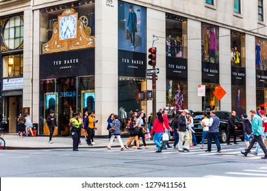 NEW YORK, USA - September 26, 2018: TED BAKER LONDON Store on Fifth Avenue (5th Ave) in Manhattan, New York City. USA.