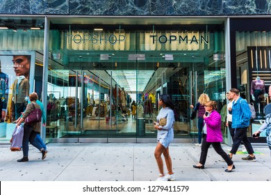 NEW YORK, USA - September 26, 2018: Topshop, Topman Store on Fifth Avenue (5th Ave) in Manhattan, New York City. USA.