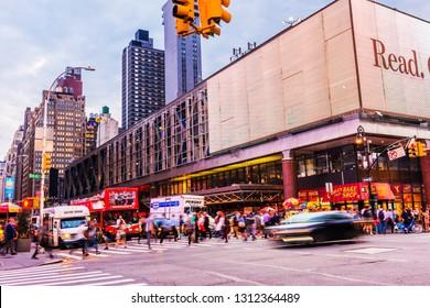 NEW YORK, USA - September 26, 2018: Port Authority Bus Terminal in Manhattan. New York. Traffic in Manhattan.