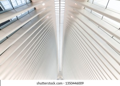 NEW YORK, USA - September 26, 2018: THE OCULUS. The Oculus Transportation Hub at new World Trade Center NYC Subway Station. Oculus, the main station house interior view.