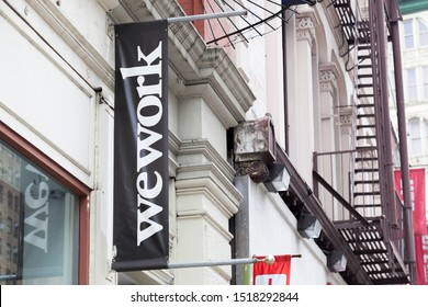 New York, New York, USA - September 26, 2019: Wework sign on Broadway in Soho Manhattan.