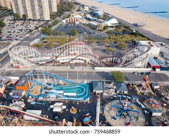 NEW YORK, USA - SEPTEMBER 26, 2017: Coney island amusement park aerial view. Located In southern Brooklyn along the waterfront it is a entertainment hot spot of NYC